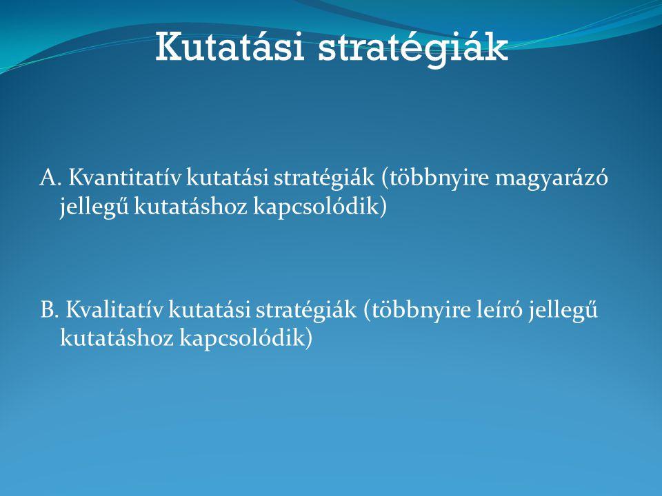 Kutatási stratégiák A. Kvantitatív kutatási stratégiák (többnyire magyarázó jellegű kutatáshoz kapcsolódik)