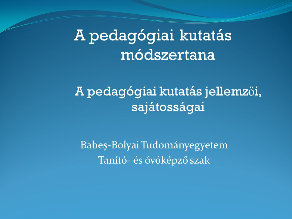 Babeş-Bolyai Tudományegyetem Tanító- és óvóképző szak