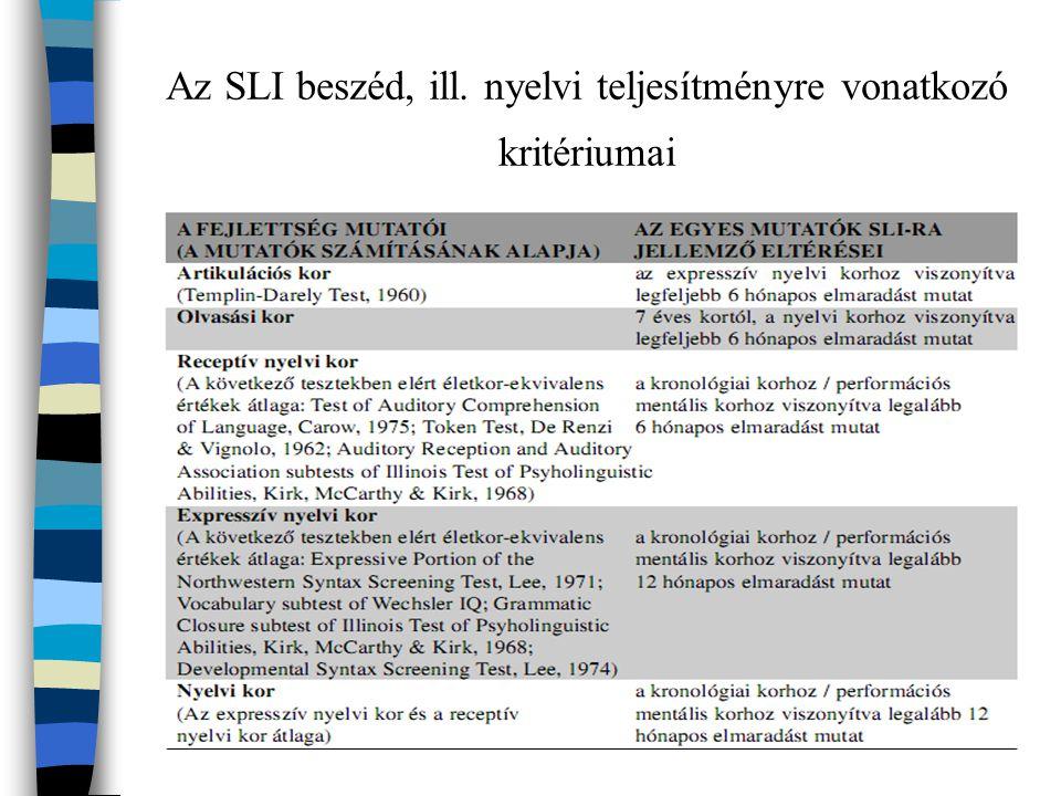 Az SLI beszéd, ill. nyelvi teljesítményre vonatkozó kritériumai