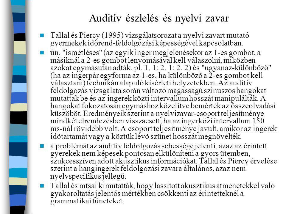 Auditív észlelés és nyelvi zavar