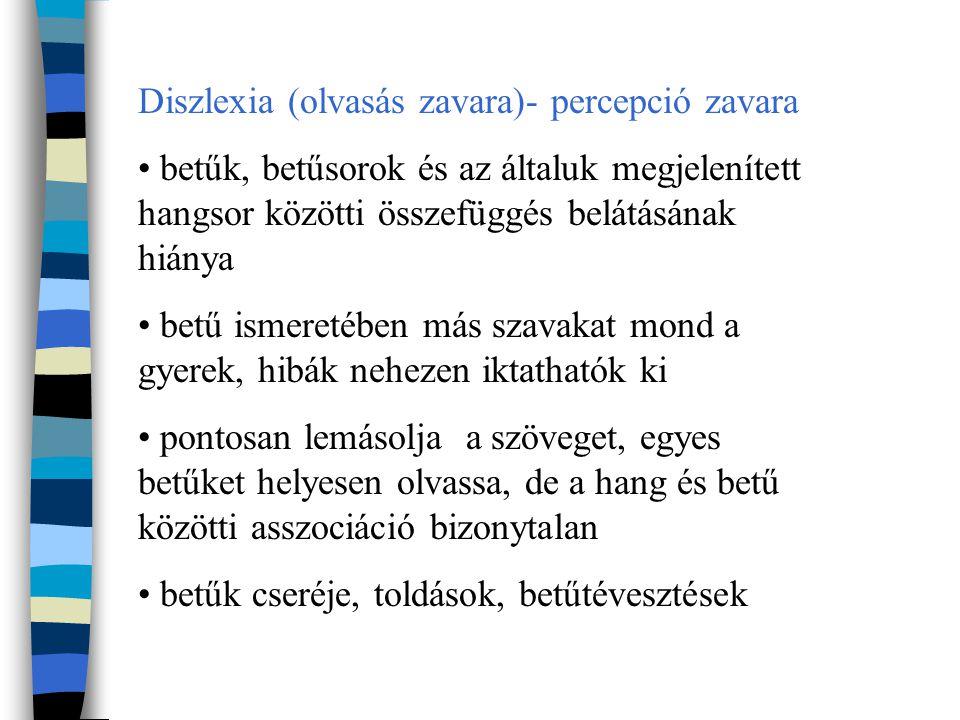 Diszlexia (olvasás zavara)- percepció zavara