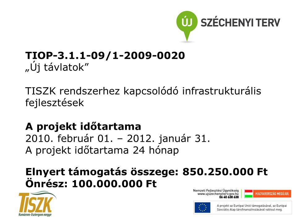"""TIOP-3.1.1-09/1-2009-0020 """"Új távlatok TISZK rendszerhez kapcsolódó infrastrukturális fejlesztések A projekt időtartama 2010."""