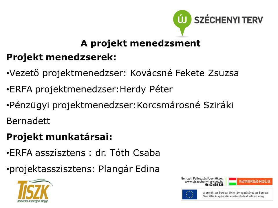 Vezető projektmenedzser: Kovácsné Fekete Zsuzsa