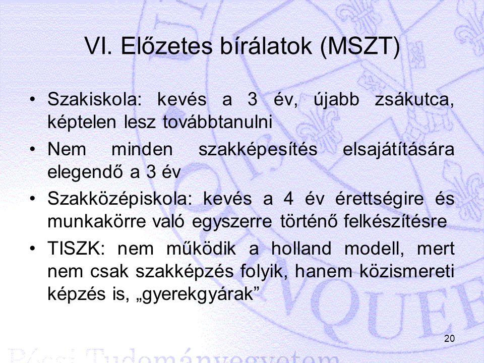 VI. Előzetes bírálatok (MSZT)