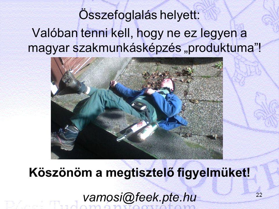 """Összefoglalás helyett: Valóban tenni kell, hogy ne ez legyen a magyar szakmunkásképzés """"produktuma ."""