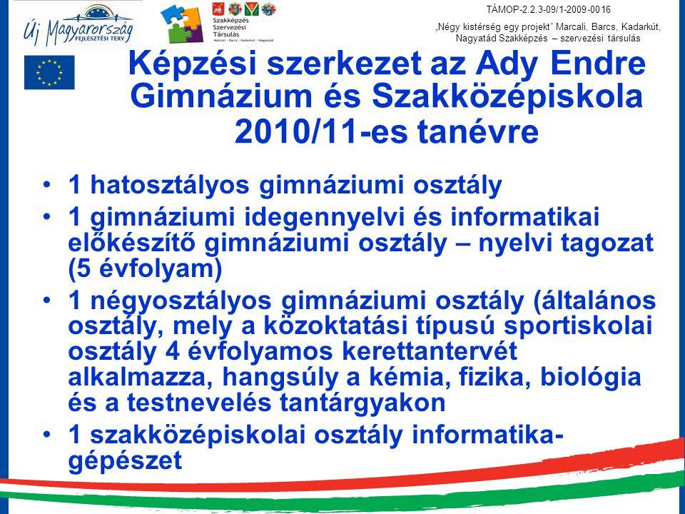 Képzési szerkezet az Ady Endre Gimnázium és Szakközépiskola 2010/11-es tanévre