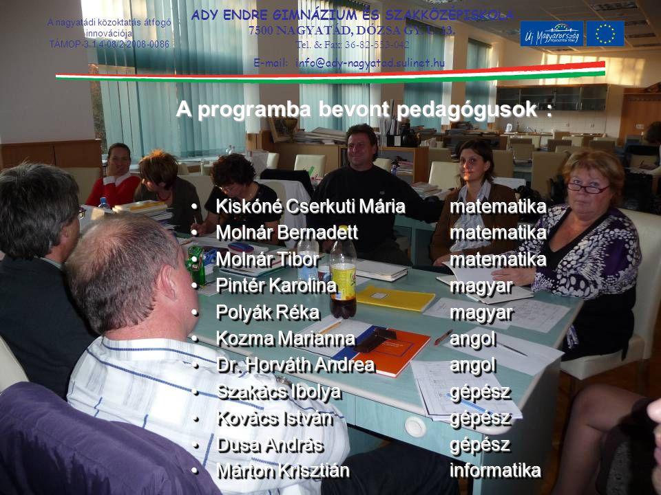 A programba bevont pedagógusok :