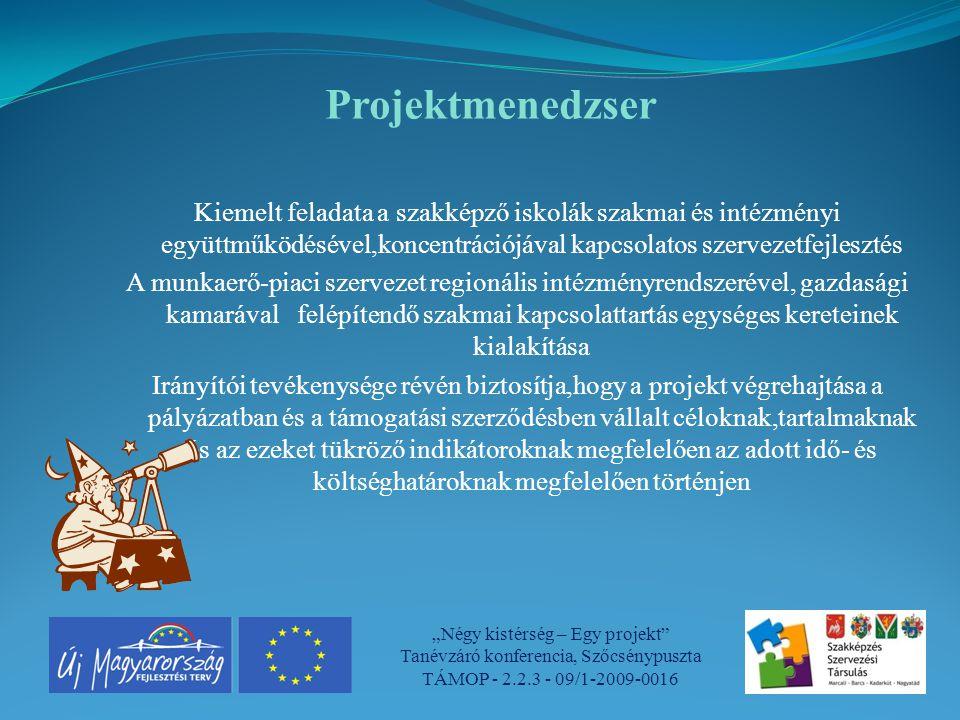 Projektmenedzser Kiemelt feladata a szakképző iskolák szakmai és intézményi együttműködésével,koncentrációjával kapcsolatos szervezetfejlesztés.
