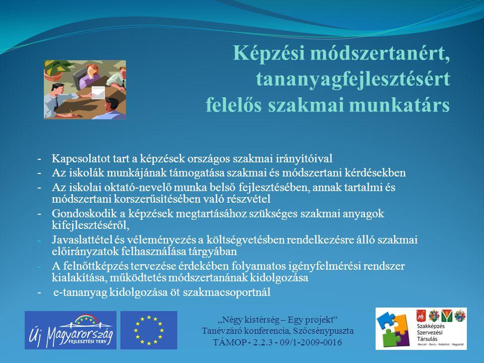 Képzési módszertanért, tananyagfejlesztésért felelős szakmai munkatárs