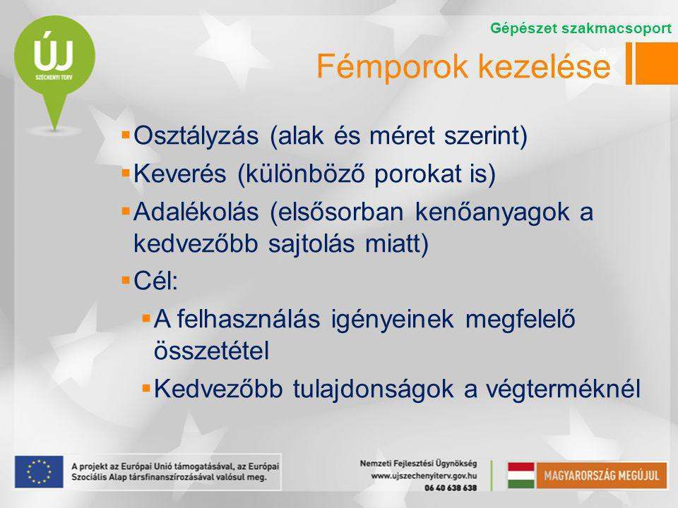 Fémporok kezelése Osztályzás (alak és méret szerint)