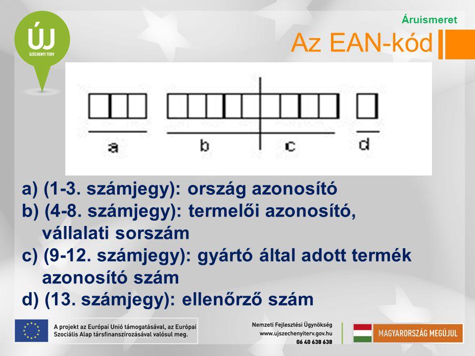 Az EAN-kód Áruismeret. a) (1-3. számjegy): ország azonosító b) (4-8. számjegy): termelői azonosító,
