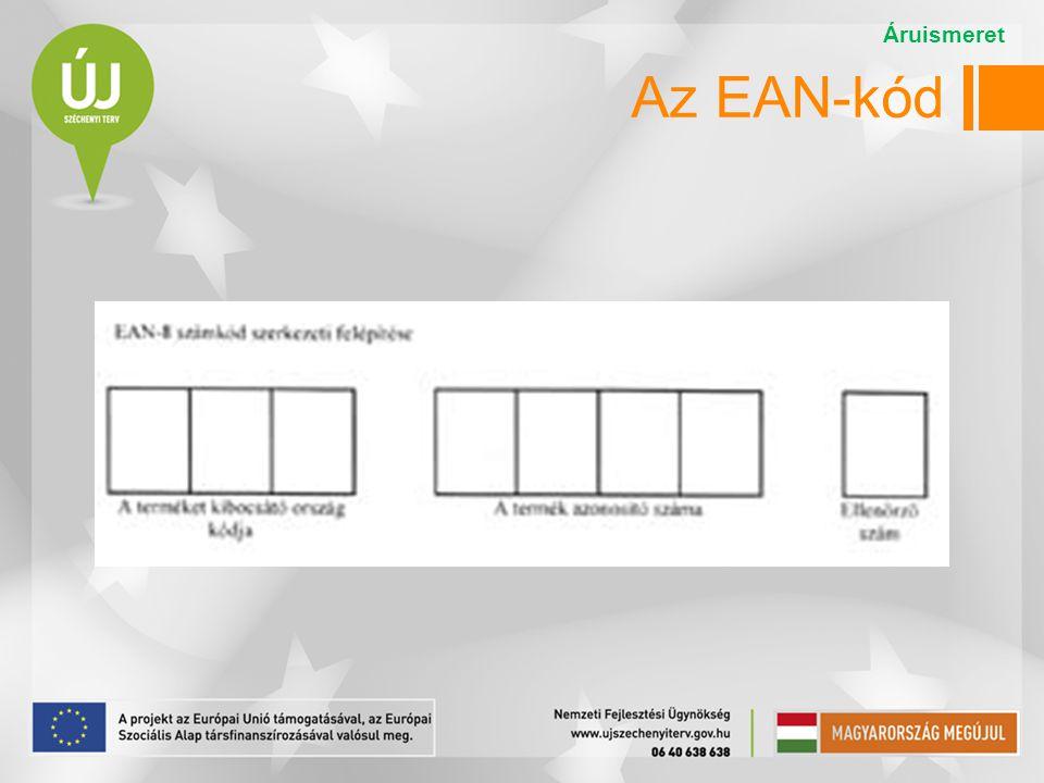 Áruismeret Az EAN-kód Az EAN-8 kód szerkezete: