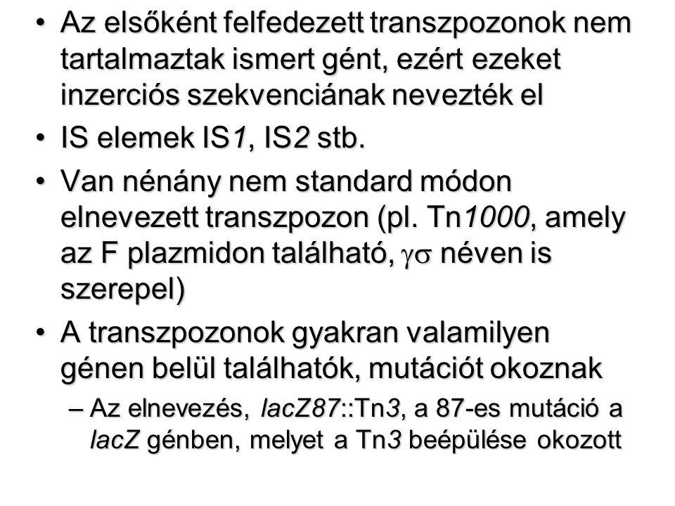 Az elsőként felfedezett transzpozonok nem tartalmaztak ismert gént, ezért ezeket inzerciós szekvenciának nevezték el