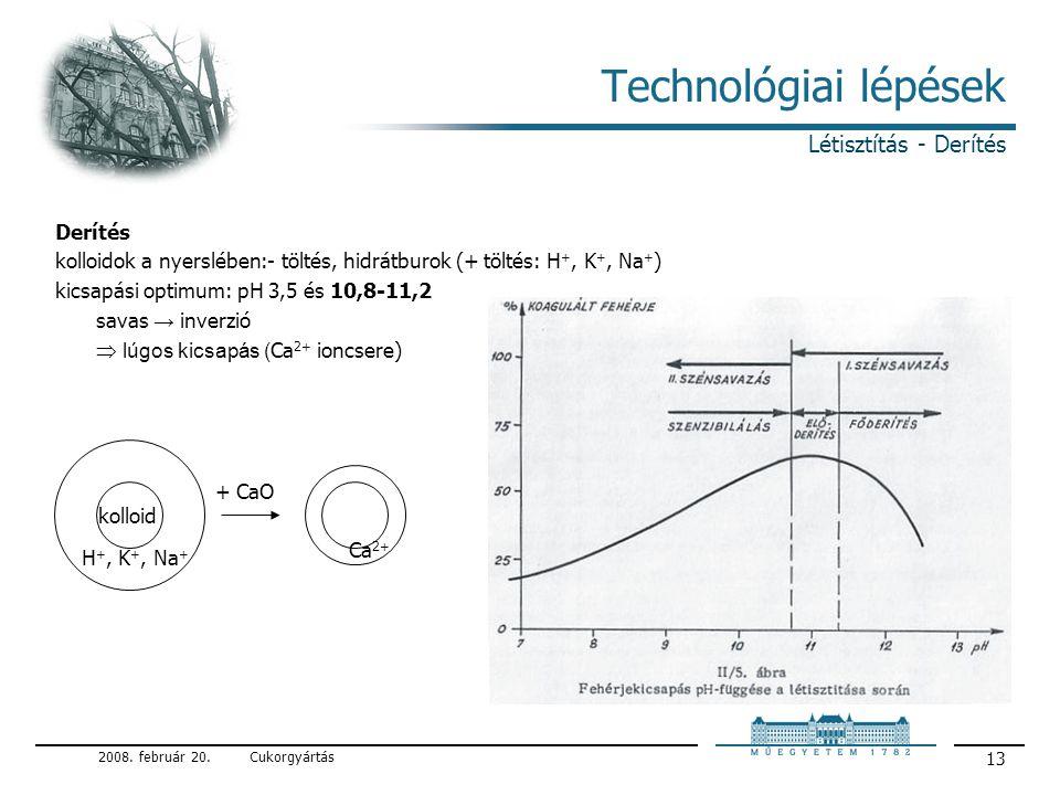 Technológiai lépések Létisztítás - Derítés Derítés