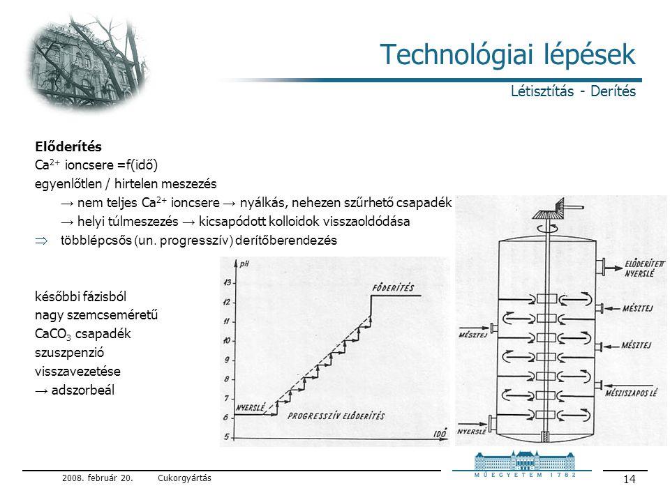 Technológiai lépések Létisztítás - Derítés Előderítés