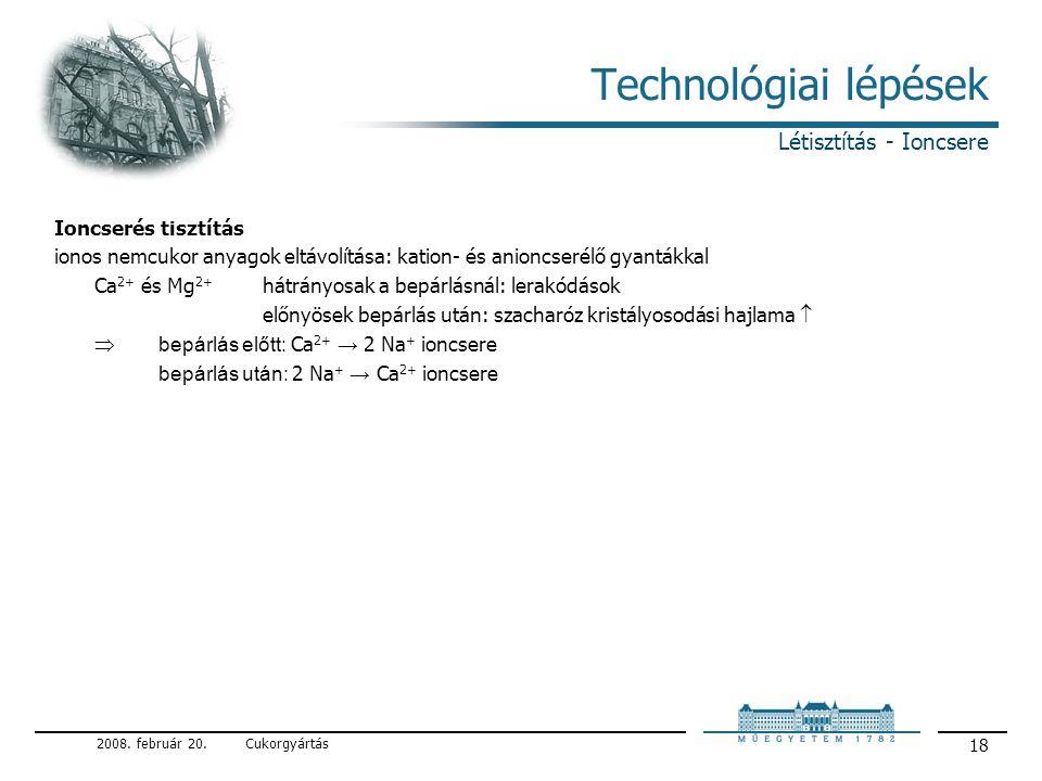 Technológiai lépések Létisztítás - Ioncsere Ioncserés tisztítás