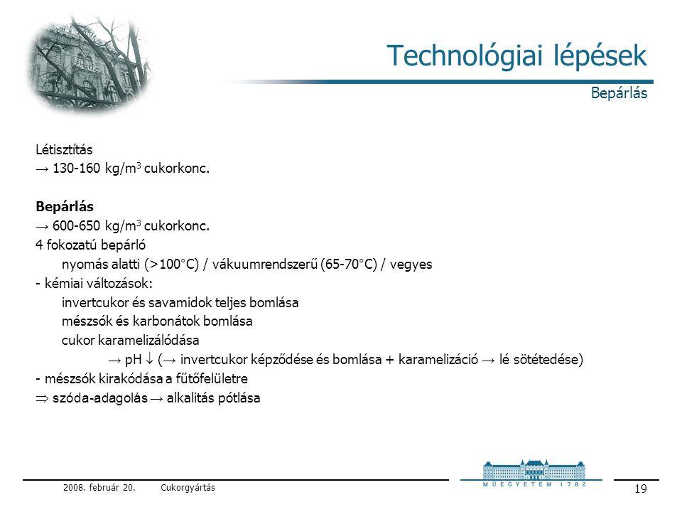 Technológiai lépések Bepárlás Létisztítás → 130-160 kg/m3 cukorkonc.