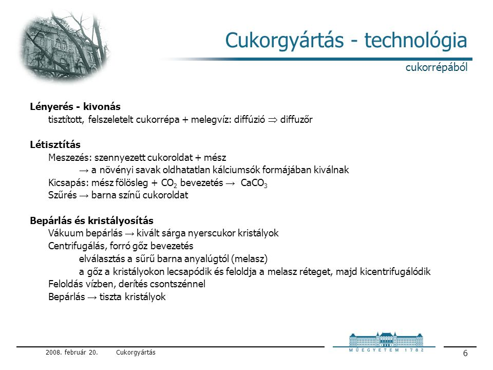 Cukorgyártás - technológia