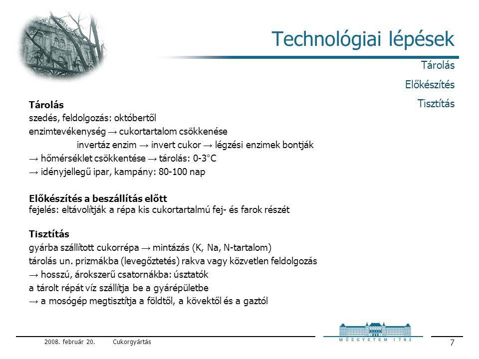 Technológiai lépések Tárolás Előkészítés Tisztítás Tárolás