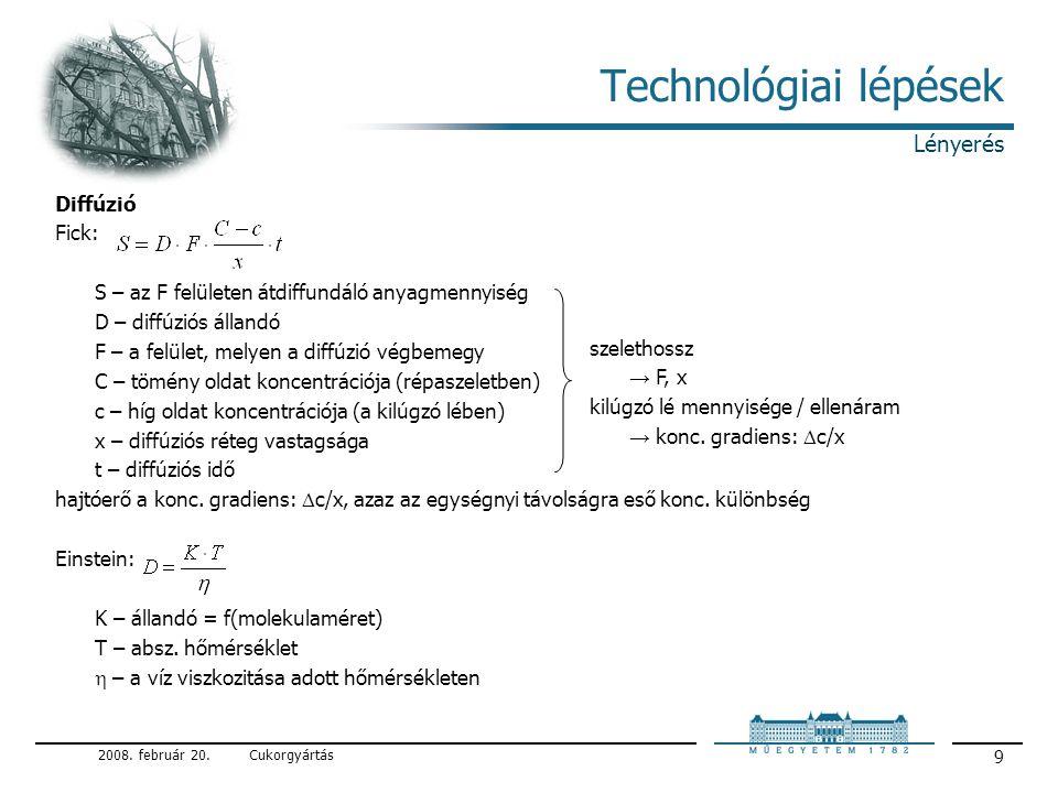 Technológiai lépések Lényerés Diffúzió Fick: