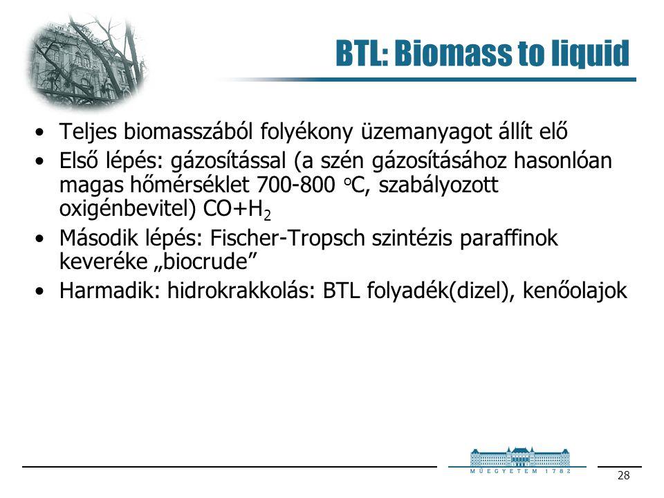 BTL: Biomass to liquid Teljes biomasszából folyékony üzemanyagot állít elő.