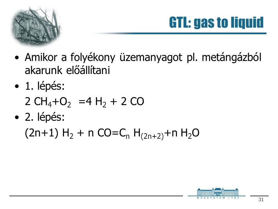 GTL: gas to liquid Amikor a folyékony üzemanyagot pl. metángázból akarunk előállítani. 1. lépés: 2 CH4+O2 =4 H2 + 2 CO.