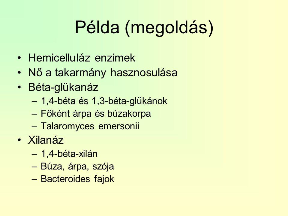 Példa (megoldás) Hemicelluláz enzimek Nő a takarmány hasznosulása