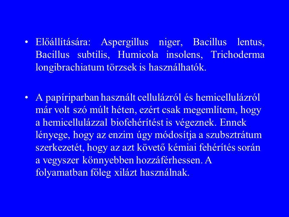 Előállítására: Aspergillus niger, Bacillus lentus, Bacillus subtilis, Humicola insolens, Trichoderma longibrachiatum törzsek is használhatók.
