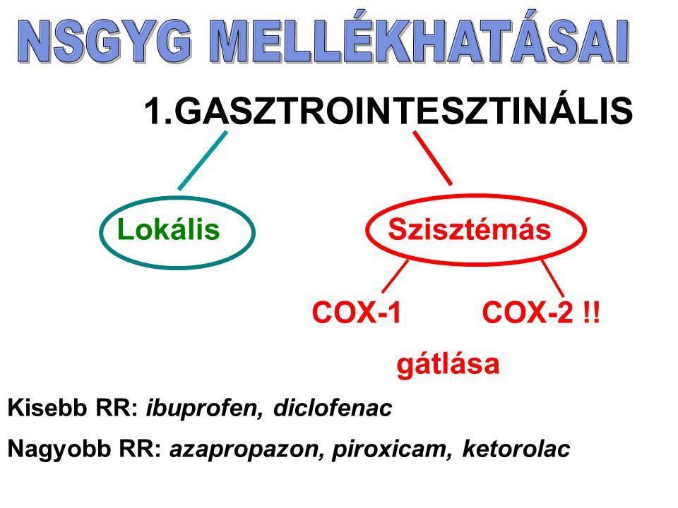 Lokális Szisztémás COX-1 COX-2 !! gátlása 1.GASZTROINTESZTINÁLIS