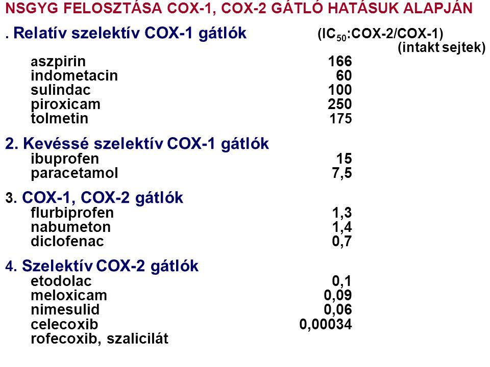 2. Kevéssé szelektív COX-1 gátlók ibuprofen 15 paracetamol 7,5