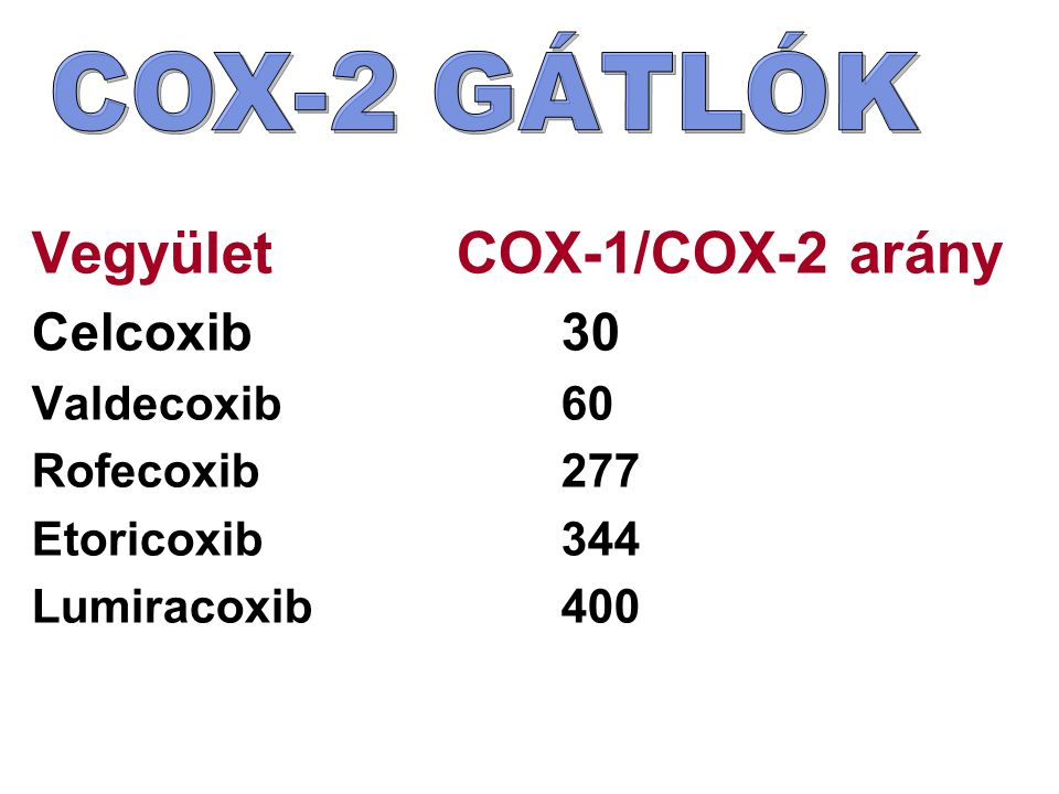 Vegyület COX-1/COX-2 arány