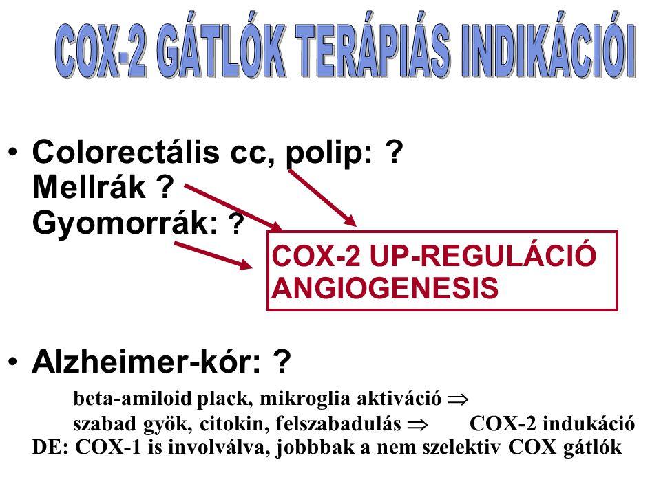 COX-2 GÁTLÓK TERÁPIÁS INDIKÁCIÓI