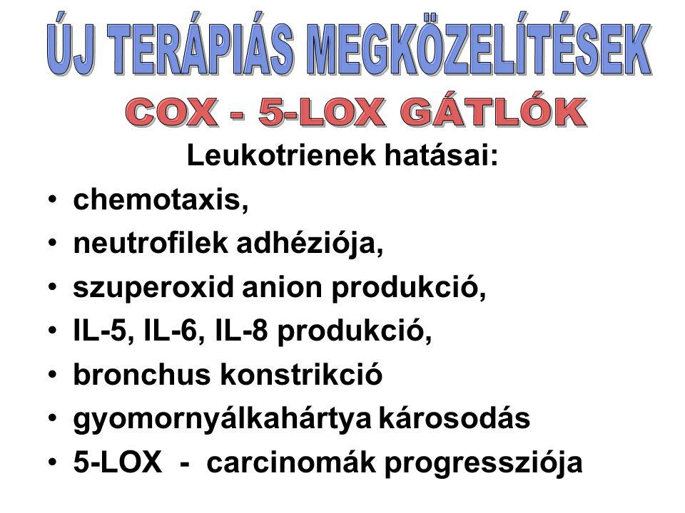 Leukotrienek hatásai: