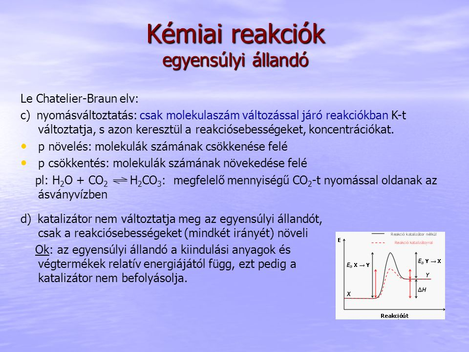 Kémiai reakciók egyensúlyi állandó