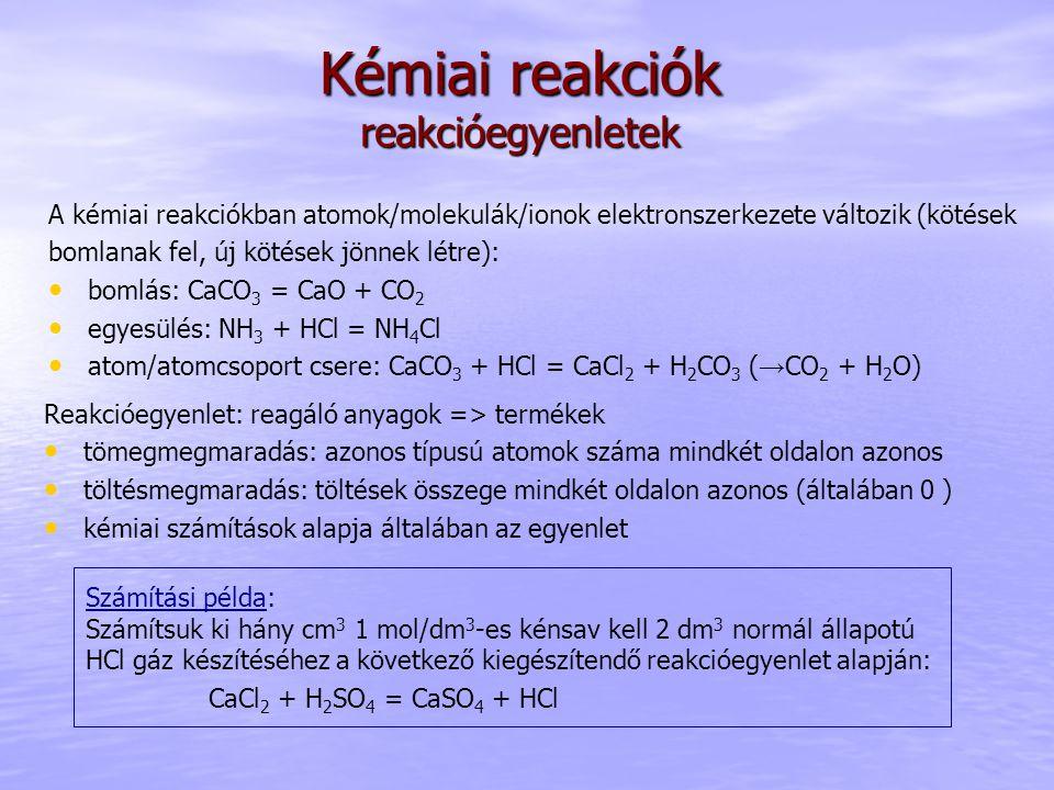 Kémiai reakciók reakcióegyenletek