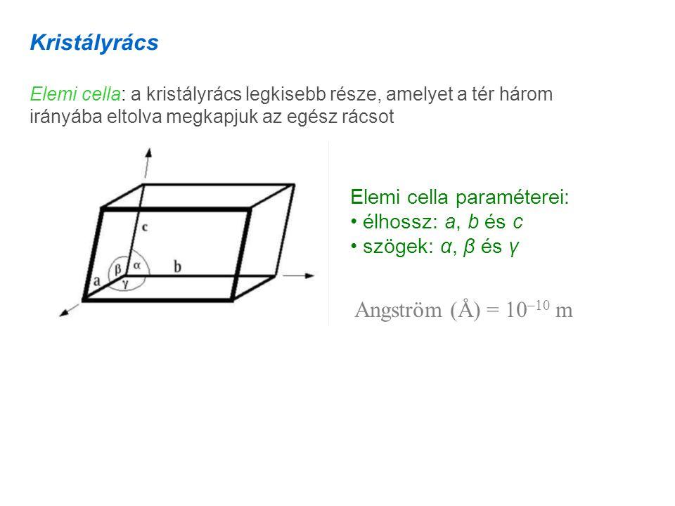 Kristályrács Angström (Å) = 10–10 m Elemi cella paraméterei: