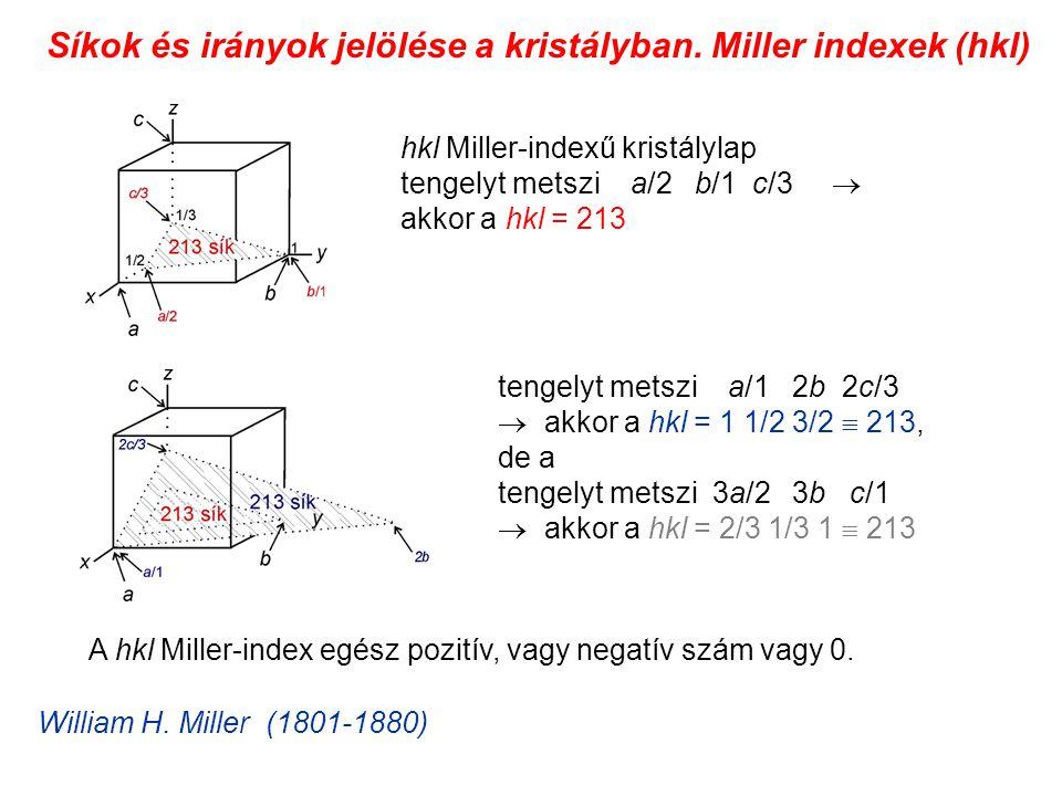 Síkok és irányok jelölése a kristályban. Miller indexek (hkl)