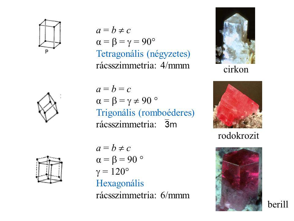 a = b  c α =  =  = 90° Tetragonális (négyzetes) rácsszimmetria: 4/mmm. a = b = c. α =  =   90 °
