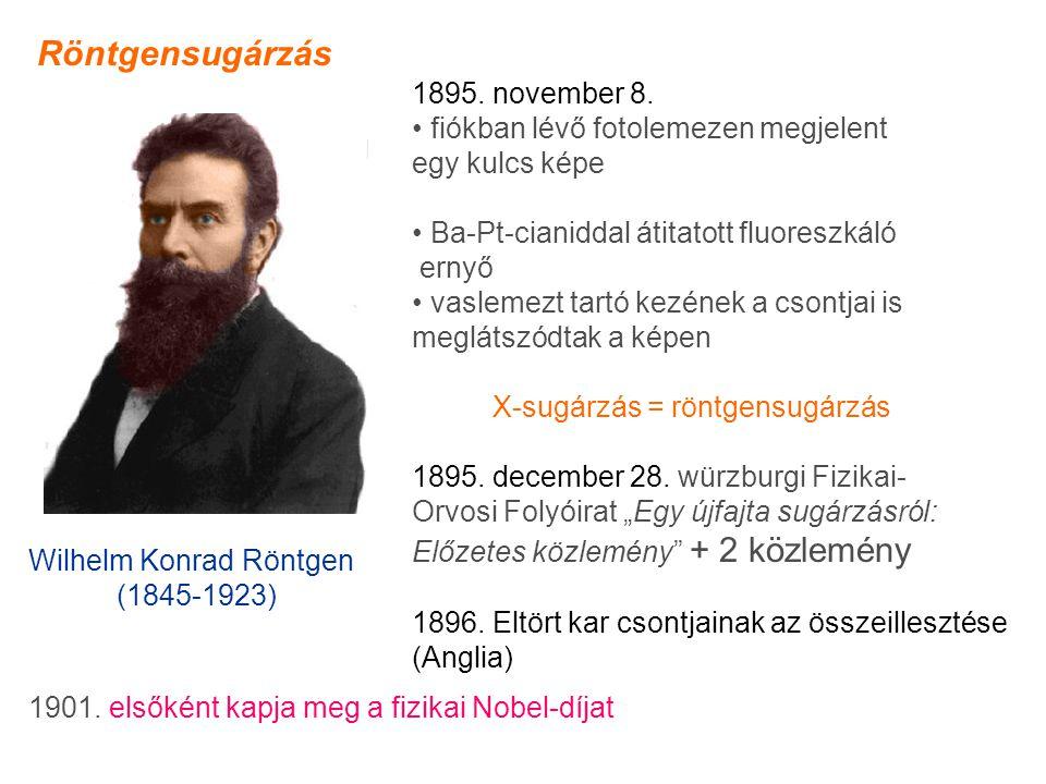 Röntgensugárzás 1895. november 8. • fiókban lévő fotolemezen megjelent
