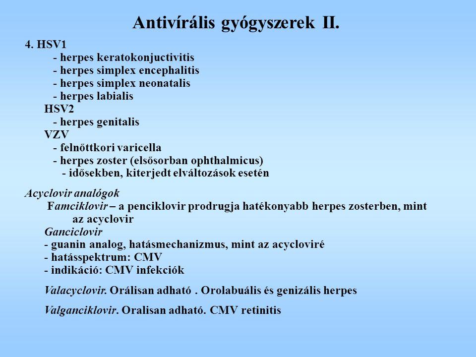 Antivírális gyógyszerek II.