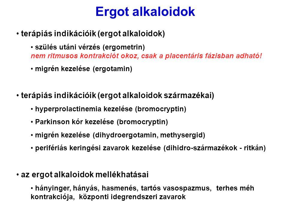 Ergot alkaloidok terápiás indikációik (ergot alkaloidok)