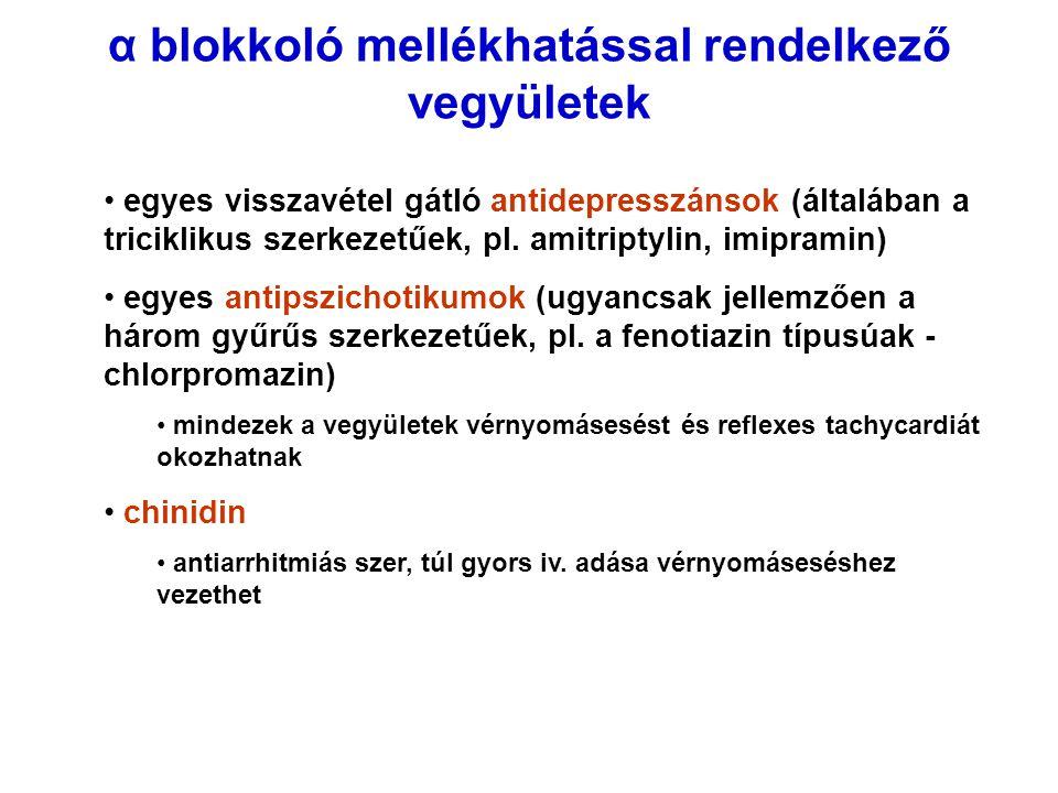 α blokkoló mellékhatással rendelkező vegyületek