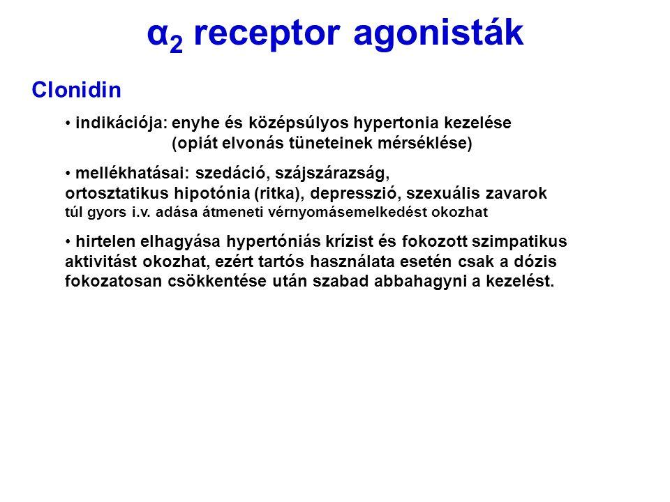 α2 receptor agonisták Clonidin