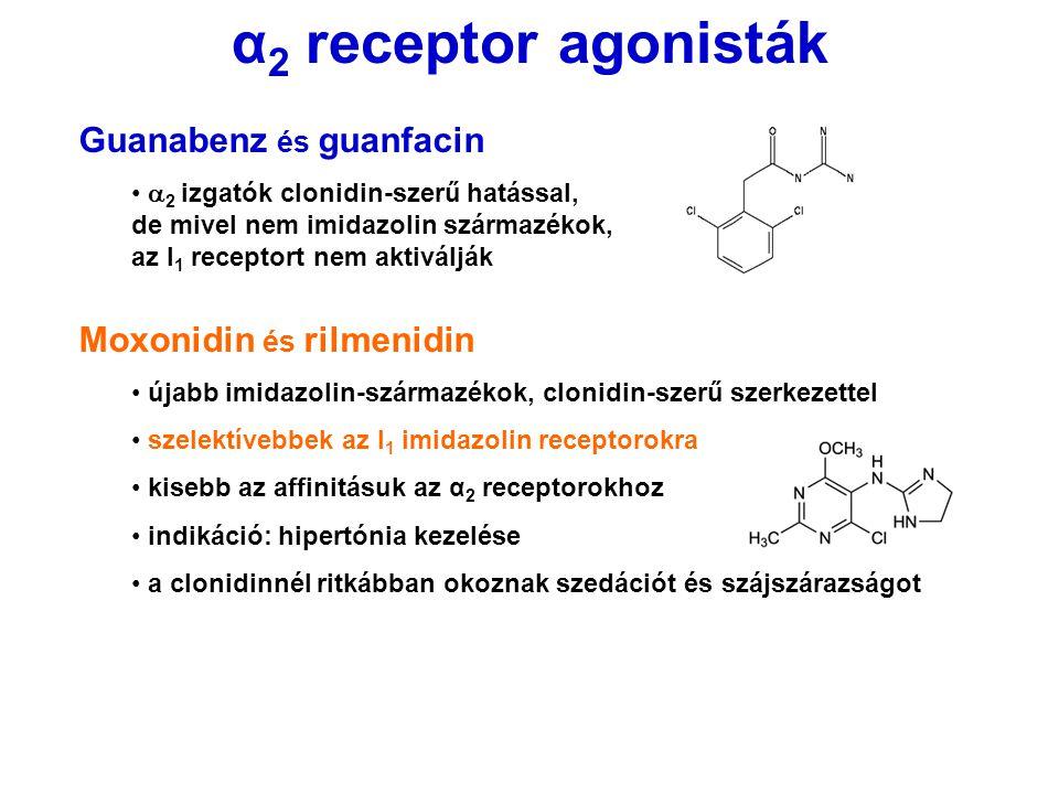 α2 receptor agonisták Guanabenz és guanfacin Moxonidin és rilmenidin