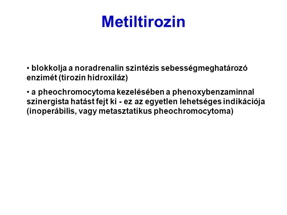 Metiltirozin blokkolja a noradrenalin szintézis sebességmeghatározó enzimét (tirozin hidroxiláz)