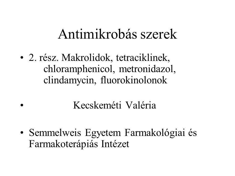 Antimikrobás szerek 2. rész. Makrolidok, tetraciklinek, chloramphenicol, metronidazol, clindamycin, fluorokinolonok.