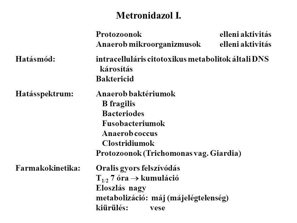 Metronidazol I. Protozoonok elleni aktivitás Anaerob mikroorganizmusok elleni aktivitás.