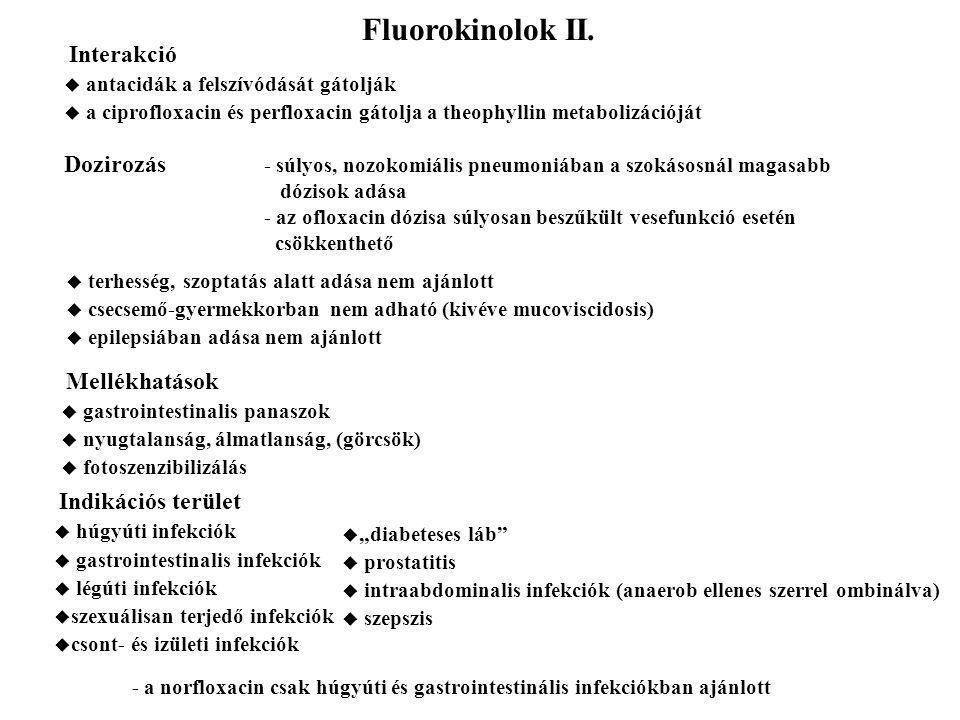 Fluorokinolok II. Interakció. antacidák a felszívódását gátolják. a ciprofloxacin és perfloxacin gátolja a theophyllin metabolizációját.