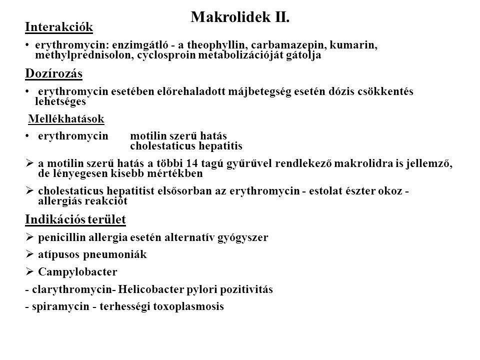 Makrolidek II. Interakciók Dozírozás Indikációs terület