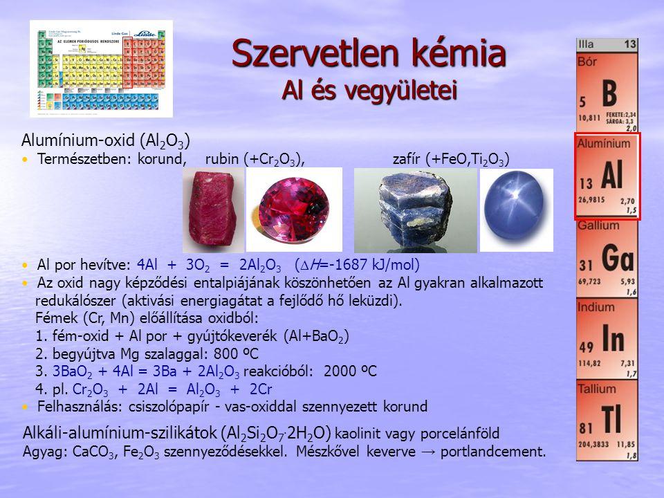 Szervetlen kémia Al és vegyületei